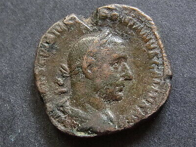 Trebonianus Gallus A.D.251-53, Sestertius.. Rev-Pietas, raising both hands.. aVF