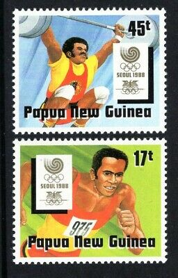 Papua New Guinea  1988 SUMMER OLYMPICS WEIGHT LIFTING SG 583-84 SC 701-02  MNH