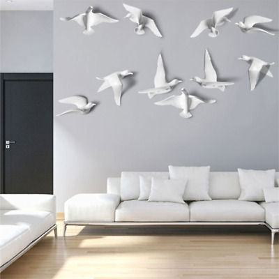 5PCS 3D Seagull Birds Wall Hangings Resin Home Office Art Wall Decor Ornaments