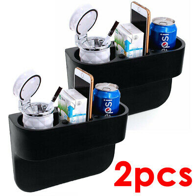 2pcs Universal Car Seat For Gap Catcher Storage Box Phone Cup Drink Holder UK