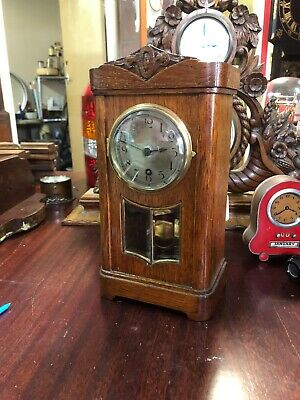 Antique German HAC Oak Cased Timepiece Miniature Grandfather Clock.