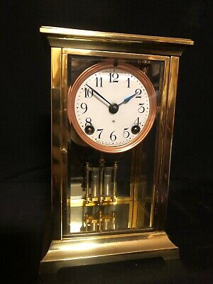 Antique American Ansonia Mantle Clock Restored Gong Strike 4 Glass Carriage