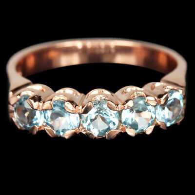 Genuine Aaa Swiss Blue Topaz Round Sterling 925 Silver Eternity Ring Size 5.5