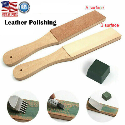 Dual Sided Leather Blade Strop Knife Razor Sharpener with Polishing Compounds US