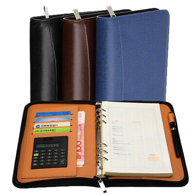 A5 PU Leather Journal Notebook Paper Diary Planner Card Storage with Calculator