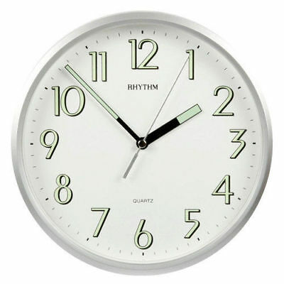 Traditional Rhythm Wall Clock  Super Luminous Silver Case Ideal For Kitchen