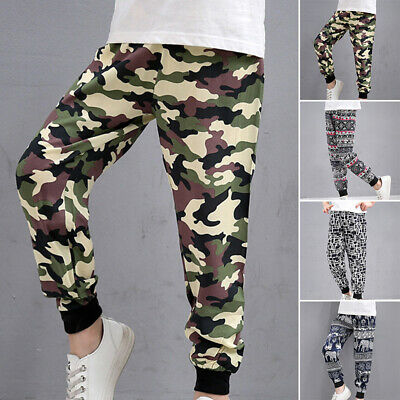 Fashion Boys Kids Camo Long Pants Stretch Casual Loose  Trousers Age 7-15 Years