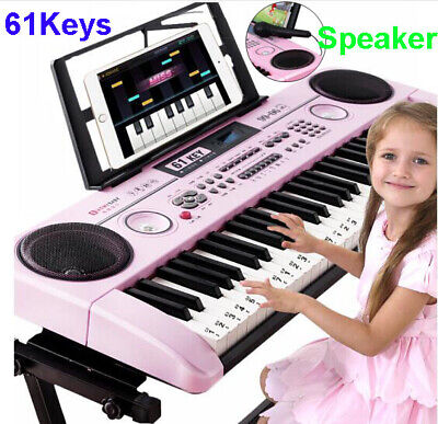 Kid's Electric Keyboard Digital Piano Microphone Gift 61 Keys Instrument Age 2+