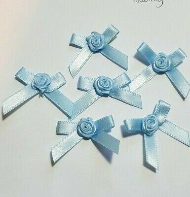 * Choose Your Colour * Large Satin Ribbon Roses Buds Embellishments x 20