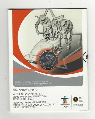 2008 Canada 1st Day, Vanc.Olympic Bobsleigh  ¢25, Coin & Card Set