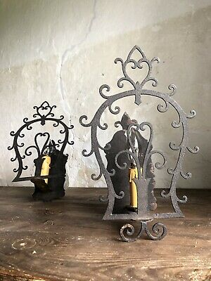 Pair of Antique French 19th Century Gothic Wrought Iron Wall Lights