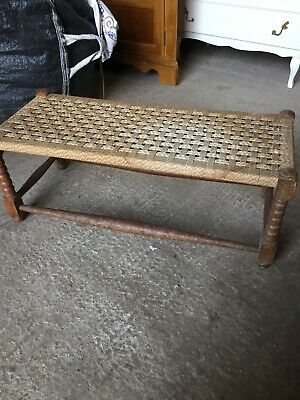 Vintage Traditional Fireside LONG Stool String Weave Seat  23/12/E