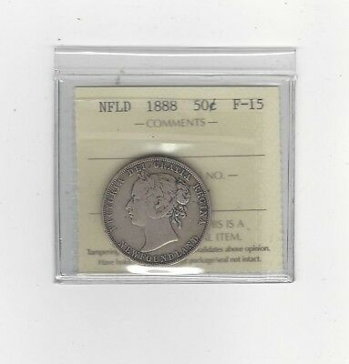 **1888**, ICCS Graded Newfoundland, Fifty Cent, **F-15**