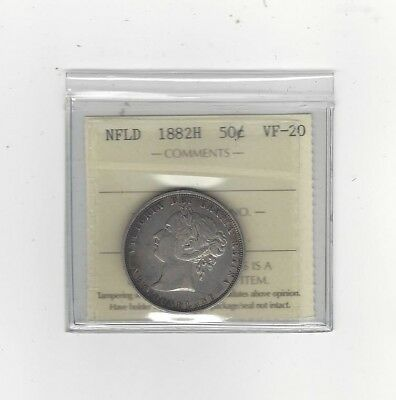**1882H**, ICCS Graded Newfoundland, Fifty Cent, **VF-20**