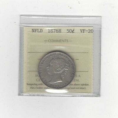 **1876H**, ICCS Graded Newfoundland, Fifty Cent, **VF-20**