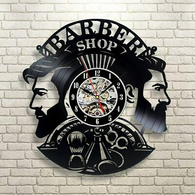 Barber Shop Wall Clock Vinyl Record Clocks Hairdresser Salon Watch Modern Decor