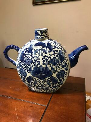 "Vintage Large Chinese Blue & White Porcelain Moon Wine Ewer Teapot 16""W 12""H"