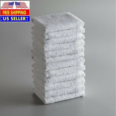 """16"""" x 19"""" 18 oz. White 100% Cotton Ribbed Terry Bar Towel 12/Pack"""