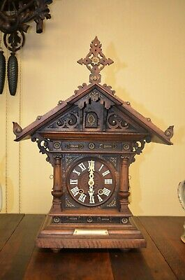 Antique Black Forest Alexander Fleig Very Rare Shelf/Mantel Cuckoo Clock 1800'S