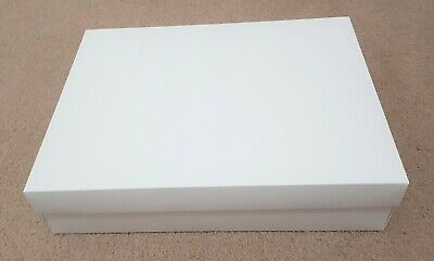 Large White Gift Boxes 40cm x 30cm x 9cm with Lid, 285gsm, Flat-packed, Pick-up