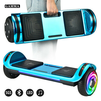 "6.5"" Bluetooth Hoverboard Flash LED Balancing Scooter UL2272 Chrome Blue No Bag"