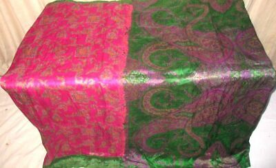 Rani Green Pure Silk 4 yard Vintage Sari Saree Pattern Patterns Garment #6E6V2