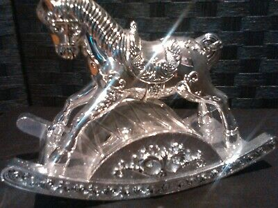 Solid Sterling Silver Ornament Musical Windup Rocking Horse