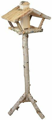 Large Traditional Silver Birch Freestanding Bird Feeding Food Table Slanted Roof