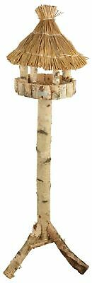 Large Traditional Silver Birch Freestanding Bird Feeding Food Table w Straw Roof