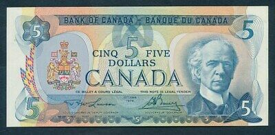 """Canada: 1979 $5 """"PM LAURIER"""" Sig Lawson-Bouey. Pick 92a UNC Lt handling Cat $47"""