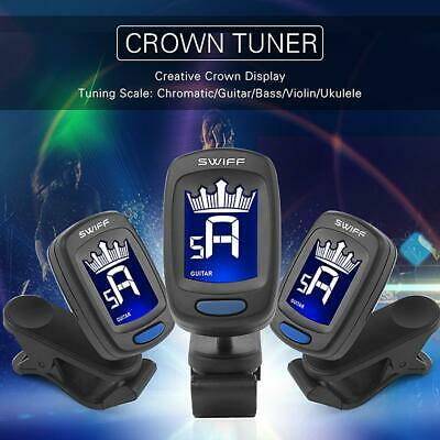 Clip-on Digital Crown LCD Tuner for Classic Folk Acoustic Guitar Chromatic Black