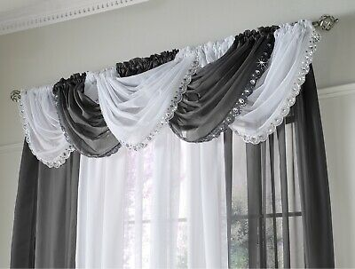 Jewelled Swag Sparkle Crystal Glitter Voile Net Pelmet Swags Curtains Black New