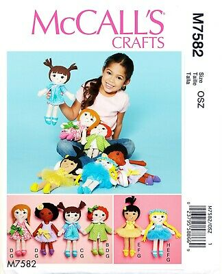 Mccall's Sewing Pattern 7582 Stuffed Soft Cloth Rag Dolls - Six Styles & Clothes