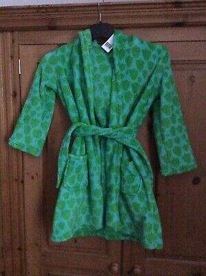 Boys. Green Fleece Dinosaur Hoody Dressing Gown Bnwt  Age 5-6.