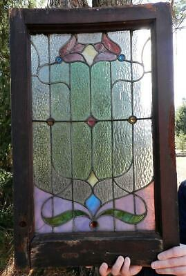 Antique 19C Victorian Leaded Stained Glass Window~Architectural Salvage~Jewels