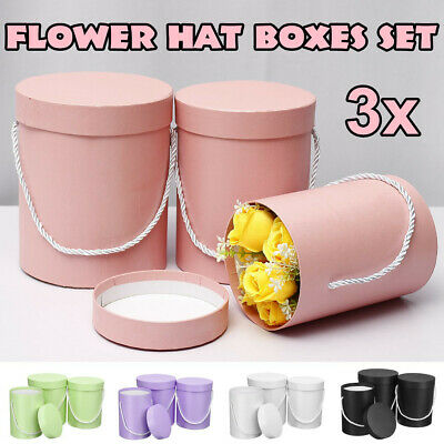 3Pcs Set Flower Hat Boxes Florist Christmas Floral Gifts Display With Handle U