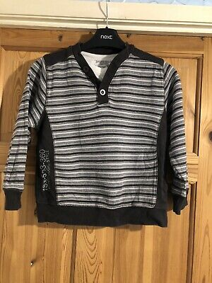 MATALAN Boys Black/Grey Striped Long Sleeved Logo Top Age 6-7yrs