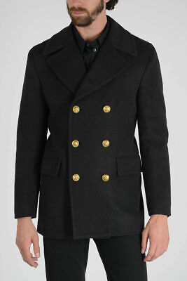 Dolce & Gabbana Men's Caban Double Breasted Wool Blend Peacoat