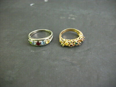 2 Vintage Mother's Rings 10K Yellow Gold / 10Kt White Gold 6 Grams With Stones