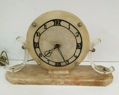 Art Deco Style Marble & Clear Perspex Electric Mantle Clock - for Repairs/Spares