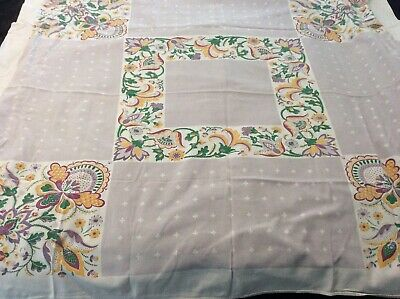 Vintage Tablecloth Lilac Green Yellow Florals Startex Textiles 1950's