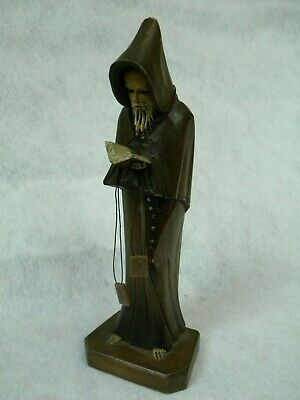 Solid Wood Hand Carved Monk Barefoot in Hooded Robe w/ Bible & Rosary 12 in Tall