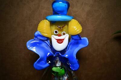 """12"""" Vintage Murano Glass Clown with Ball & Bow, Italy Art Glass Clown Figurine"""