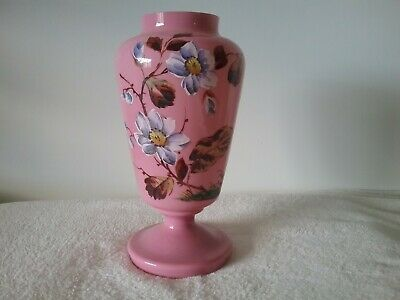 Vintage Antique Vase flowers pink handpainted  26cms tall