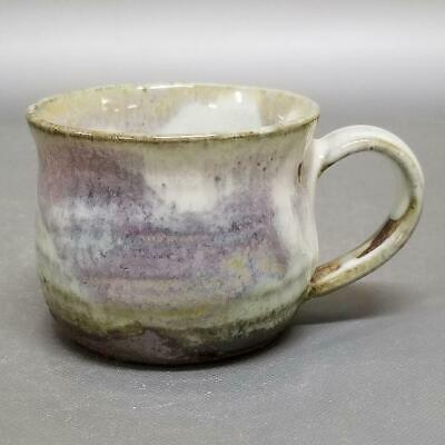 TP37)Japanese Pottery Coffee Cup/Tea Cup 3 color glazes artist Seigan Yamane