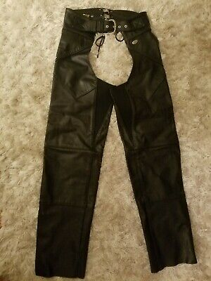 Harley Davidson Women's Leather Black Chaps Nwot Perfect Condition