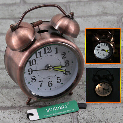RED METAL Retro Loud Double Bell Mechanical Keywound Alarm Clock Decor 3INCH