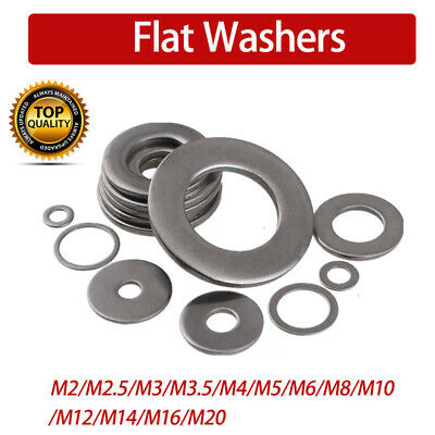 Flat Washers To Fit Metric Bolts& Screws M2/M2.5/M3/M5/M6/M8/M10/M12/M20