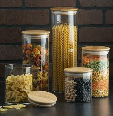 Canister Set Of 5, Glass Kitchen Canisters With Airtight Bamboo Lid, Glass Stora