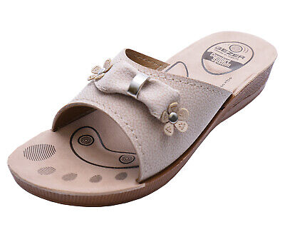 Womens Beige Low Wedge Comfort Mule Sandals Open-Toe Cushioned Slip-On Shoes 3-8